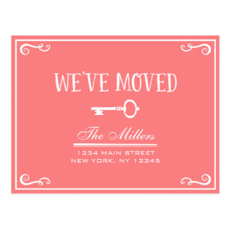 Elegant Coral Pink Key Moving Announcement Postcard