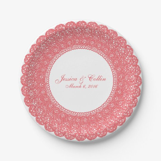 Elegant coral pink lace doiley custom plate