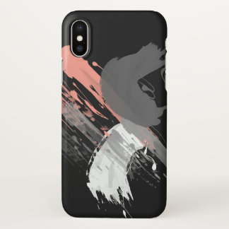 elegant coral pink white and grey brushstrokes iPhone x case
