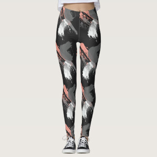 elegant coral pink white and grey brushstrokes leggings