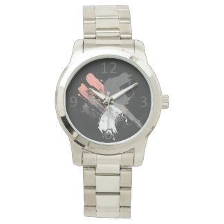 elegant coral pink white and grey brushstrokes wrist watch