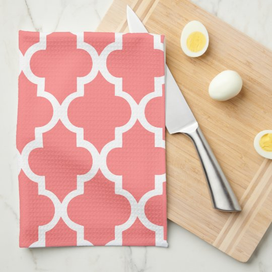 Elegant Coral Quatrefoil Tiles Pattern Tea Towel