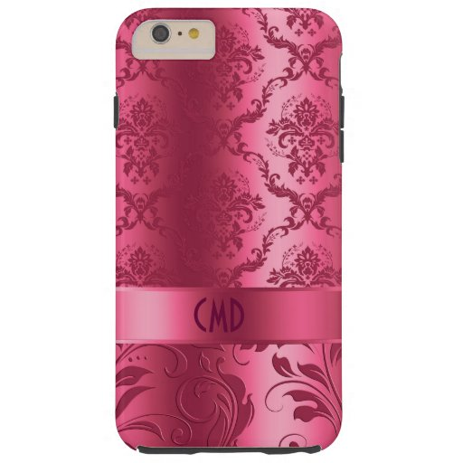 Elegant Coral Red Floral Lace And Damasks Tough iPhone 6 Plus Case