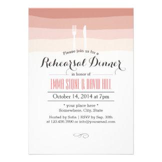 Elegant Coral Stripes Rehearsal Dinner Custom Invites