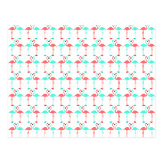 Elegant coral teal cute flaming pattern postcard