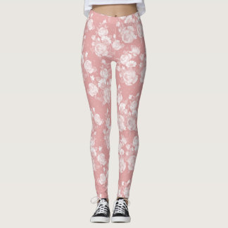 Elegant coral white vintage elegant floral leggings