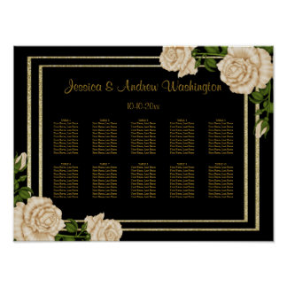 Elegant Corner Ivory Roses Wedding Seating Chart Poster