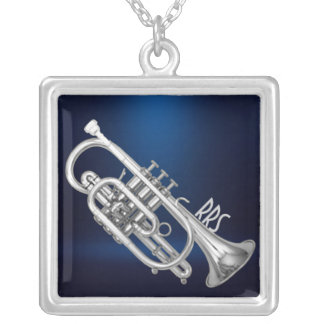 Elegant Cornet Personalized Monogram Gift Silver Plated Necklace