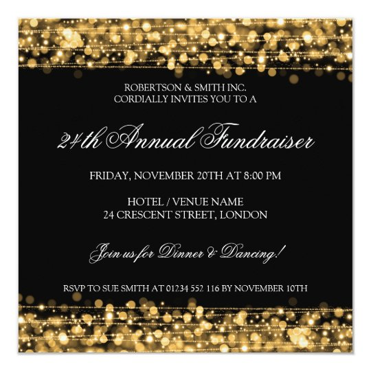Elegant Corporate Fundraiser Party Sparkles Gold Card
