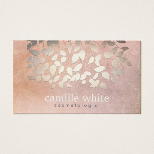 Elegant Cosmetology Faux Gold Foil Leaves Peach Business Card