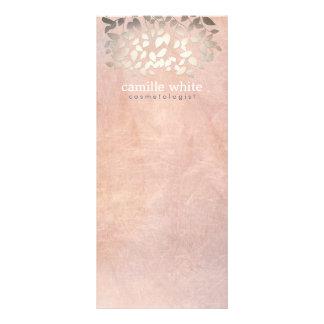 Elegant Cosmetology Faux Gold Foil Leaves Peach Custom Rack Card