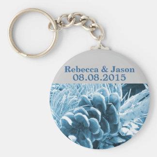 elegant country pine cones winter wedding key ring