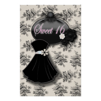 Elegant Country Rose  SWEET 16 BLACK GOWN poster