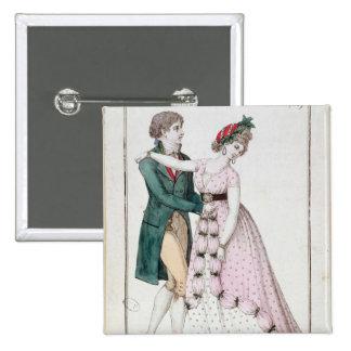 Elegant Couple Dancing the Waltz 15 Cm Square Badge