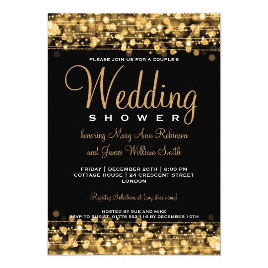 Elegant Couples Shower Party Sparkles Gold Card