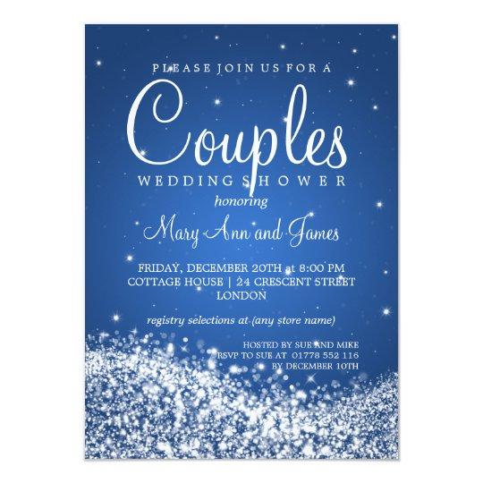 Elegant Couples Shower Sparkling Wave Blue Card