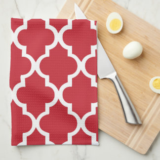 Elegant Cranberry Red Quatrefoil Tiles Pattern Tea Towel