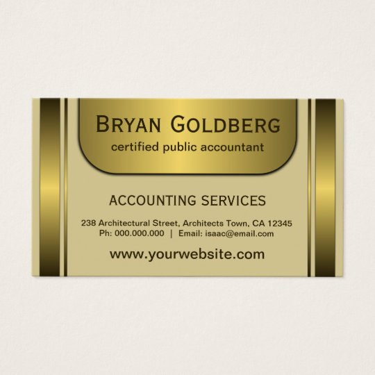 Elegant Cream and Gold Standard CPA Accountant Business Card