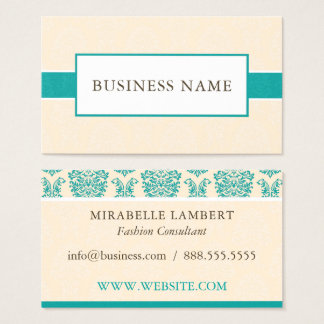 Elegant Cream and Teal Damask Business Card