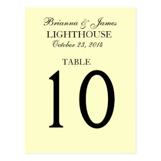 Elegant Cream and Yellow Wedding Table Number Card Postcard