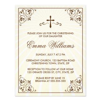 Elegant cream ornate frame christening invitation