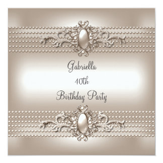 Elegant Cream Pearl 40th Birthday Party Card