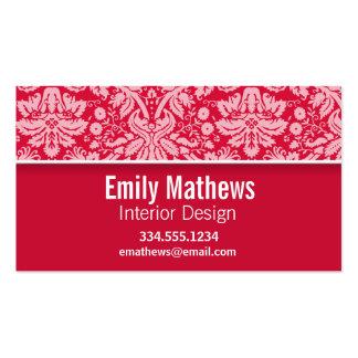 Elegant Crimson Damask Pattern Business Cards