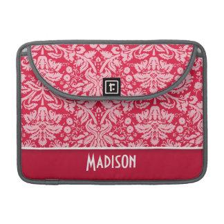 Elegant Crimson Damask Pattern Sleeves For MacBooks