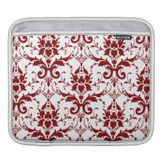 Elegant Crimson Red Damask Pattern on White Sleeve For iPads