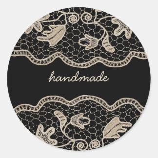 Elegant Crochet Lace Classic Round Sticker
