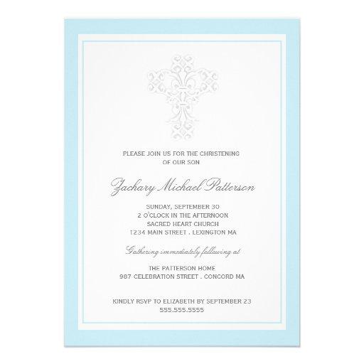 Elegant Cross Baby Boy Christening Invitation