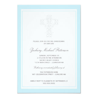 Elegant Cross Baby Boy Christening Invitation