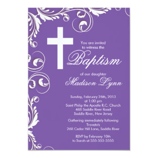 Elegant Cross Baby Girl Baptism Christening Personalized Announcements