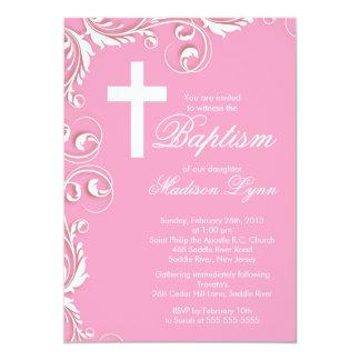"Elegant Cross Baby Girl Baptism Christening 5"" X 7"" Invitation Card"