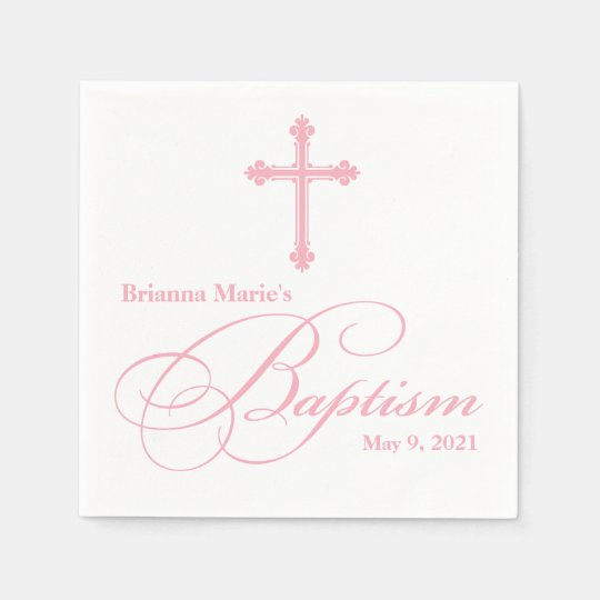 Elegant Cross Baptism Personalised Napkin Disposable Serviettes