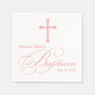 Elegant  Cross Baptism Personalized Napkin Disposable Serviettes