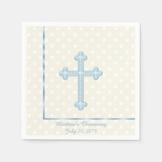 Elegant Cross Blue Christening Disposable Napkins