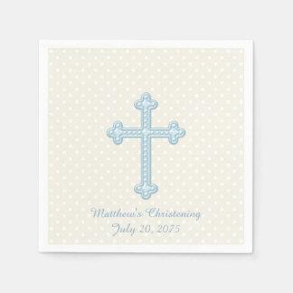 Elegant Cross Blue Christening Paper Napkin