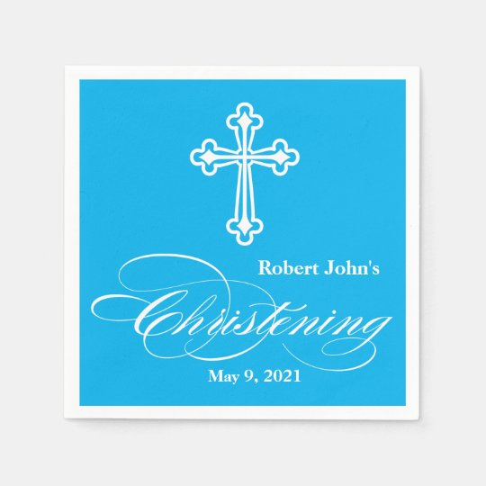 Elegant Cross Christening Personalised Napkin Paper Napkins