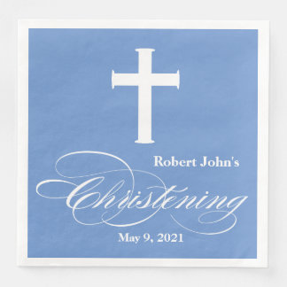Elegant Cross Christening Personalized Napkin Disposable Serviettes