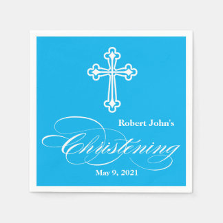 Elegant Cross Christening Personalized Napkin Paper Napkins