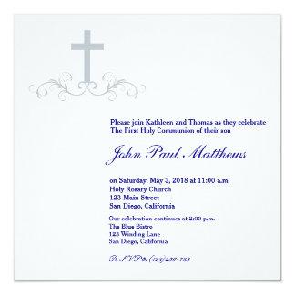 Elegant Cross Communion Invitation for Boys