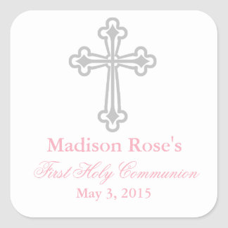 Elegant Cross First Communion Party Favor Labels