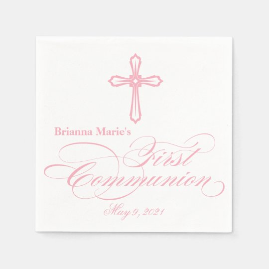 Elegant Cross First Communion Personalised Napkin Paper