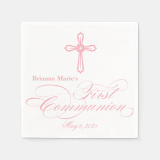 Elegant  Cross First Communion Personalized Napkin Paper Serviettes