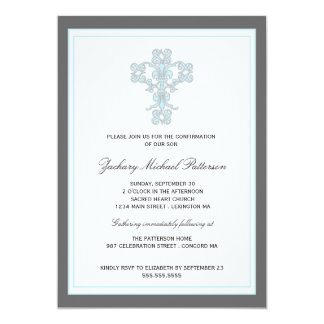 Elegant Cross in Blue Son Confirmation Invitation