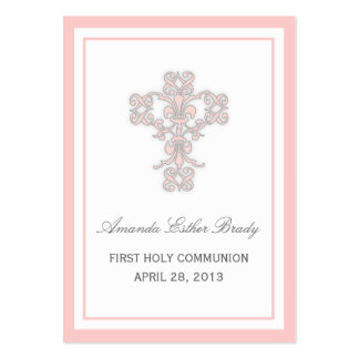 Elegant Cross in Pink Favor Tag Card Business Card Template