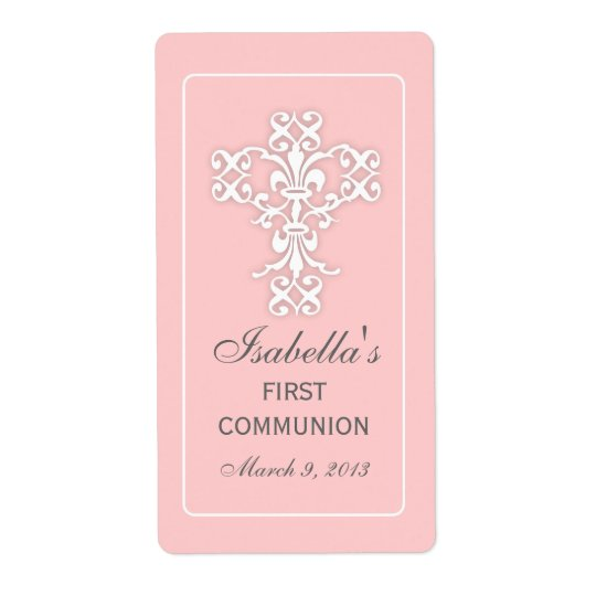 Elegant Cross in Pink Favour Sticker Label Shipping Label