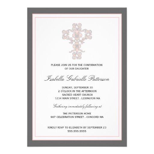 Elegant Cross Pink Girl First Communion Invitation