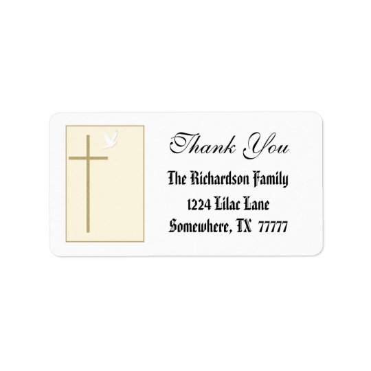 Elegant Cross Thank You Label Address Label